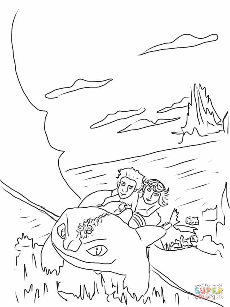 Astrid und Hicks reiten auf Ohnezahn