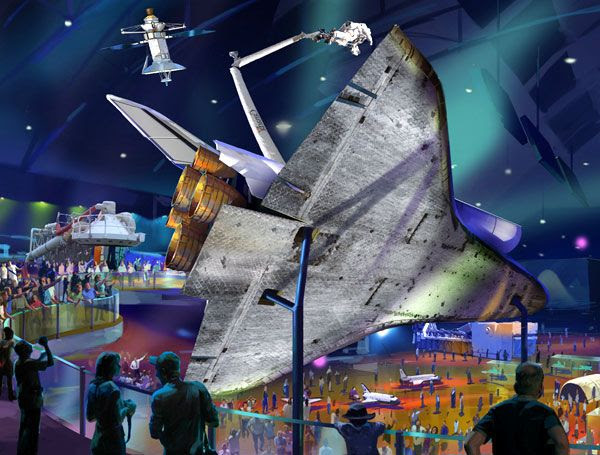 An artist's concept of the space shuttle Atlantis exhibit at the Kennedy Space Center Visitor Complex.