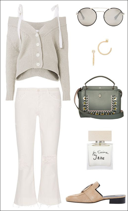 Adeam Off The Shoulder Sweater Round Prada Sunglasses Mini Hoop Earrings Fendi Flower Bag White Mother Jeans Bella Freud Perfume Dorateymur Mules Loafers Le Fashion Blog