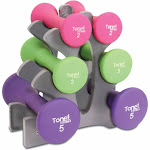 Tone Fitness Hourglass Dumbbell Set with Rack, 20 lb