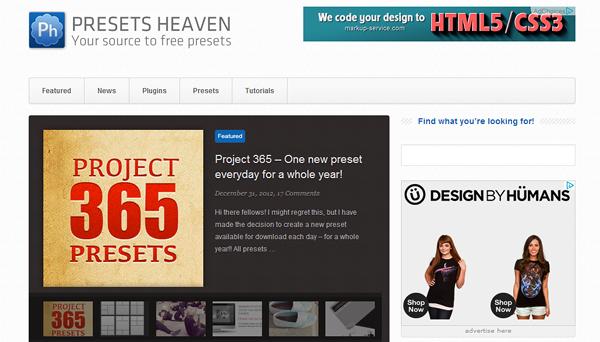 presetsheaven 8 sitios web que te convertirá en un Photoshop Guru