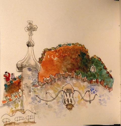 Sketchcrawl Barcelona. Detalle Casa Batllo