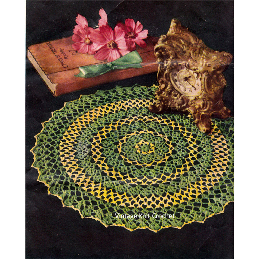Yellow & Chartreuse Crochet Doily Pattern