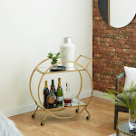 Silver Orchid Schonfeld Round Iron and Glass Gold Cart (Gold)