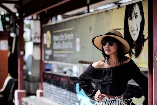 black and white - culotte & off shoulder blouse - thefashionanarchy