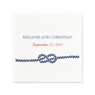 Nautical Knot Wedding Cocktail Napkin Standard Cocktail Napkin
