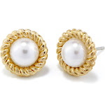 Pearl Stud Earrings - Gold and Pearl Earrings - Gifts for Mom - Bridesmaid Gifts - Anniversary Gift for Her - Graduation Gifts for Her