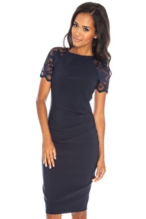 gayle lace midi dress  navy iclothing