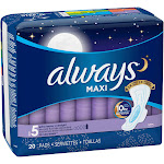 Always Maxi Extra Heavy Overnight with Flexi Wings Pads, Size 5 - 20 count