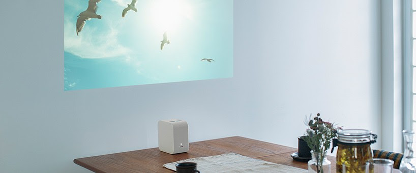 mobile ultra-short focus projector by sony adapts any blank space into a display
