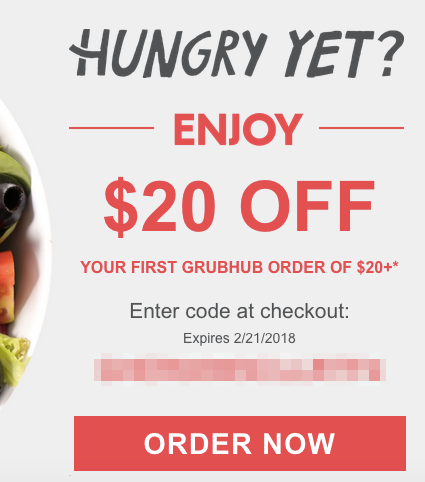 $20 Off First GrubHub Food Delivery Order of $20+ (For New Users) - The Reward Boss