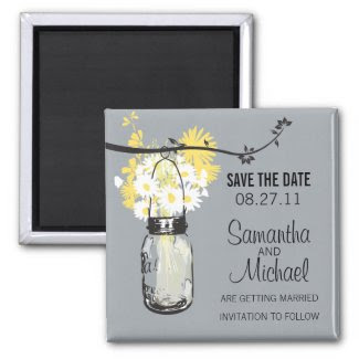 Vintage Mason Jar & Wild Flowers Save the Date Magnets