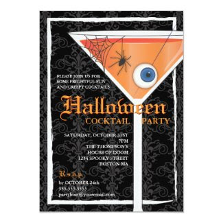 Elegant Black Lace Halloween Cocktail Party 5x7 Paper Invitation Card
