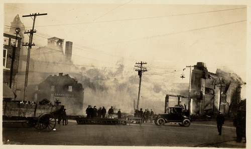 Crazy Hotel, pavilion and drug store fire. 1925