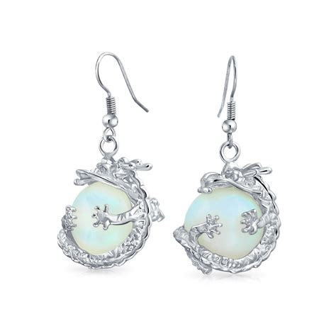 Round White Opalite Lucky Chinese Dragon Dangle Earrings