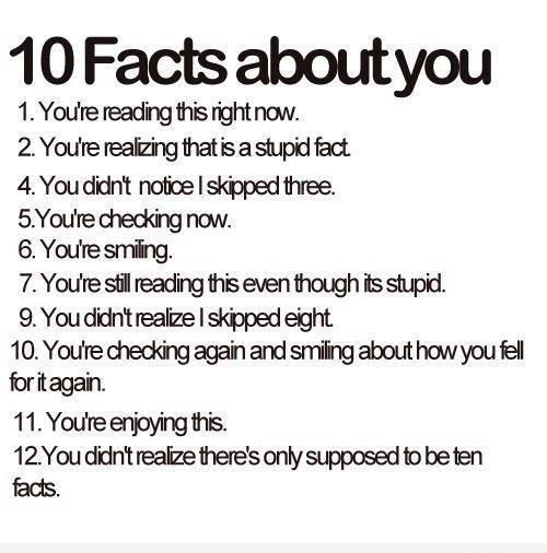 A good chuckle – 10 facts about you.