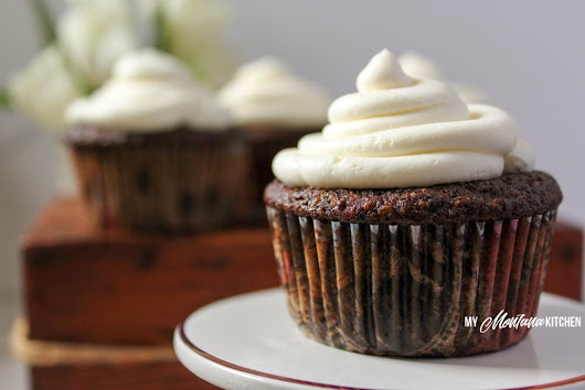 Chocolate Cupcakes with Whipped Cream Cheese Frosting (THM-S, Low Carb, Sugar Free)