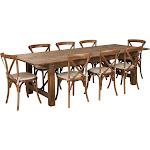 """9'x40"""" Farm Table/8 Chair Set XA-FARM-14-GG"""
