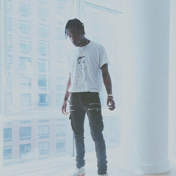 travis scott draped in olivier rousteing's balmain clothes