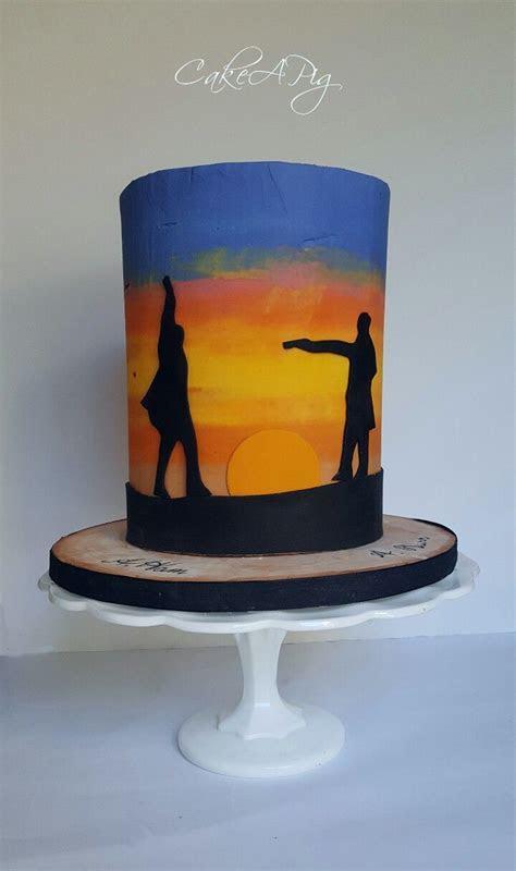 Hamilton Cake Double Barrel cake iced in Buttercream