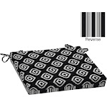 Better Homes & Gardens Outdoor Patio Chair Cushion - Diamond Wondering Ikat, Black