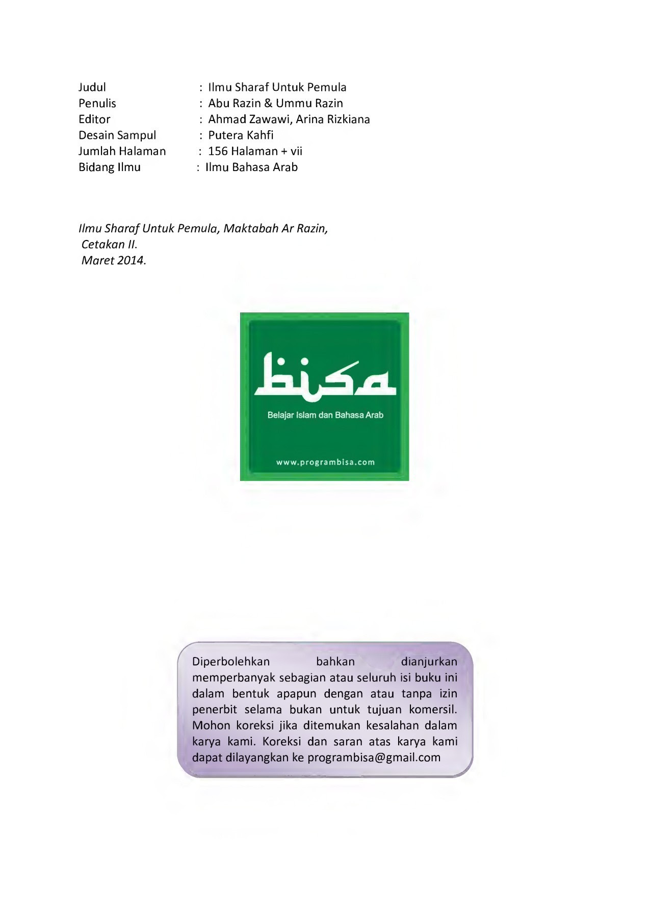 Ebook Ilmu Sharaf Untuk Pemula Cetakan 2 Rev 02 Pages 1 50 Text Version