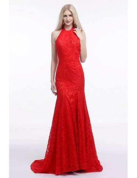 Fit And Flare Halter Red Wedding Dress Backless In All
