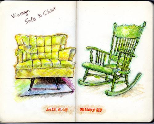 vintage sofa & chair