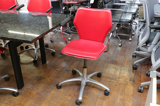 Italian Red Leather Swivel Chairs — Peartree Office Furniture