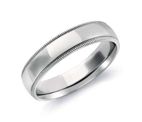 Milgrain Comfort Fit Wedding Ring in 14k White Gold (5mm