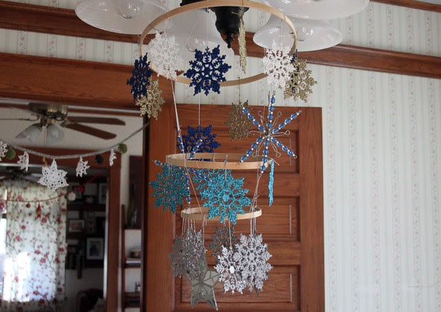 Glittered Snowflake Mobile
