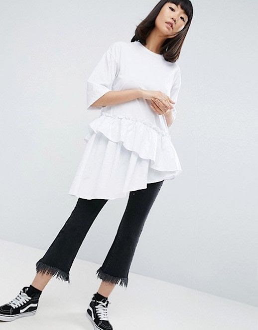 Le Fashion Blog Under $100 Asos White T Shirt Contrast Layered Frill Hem Via Asos