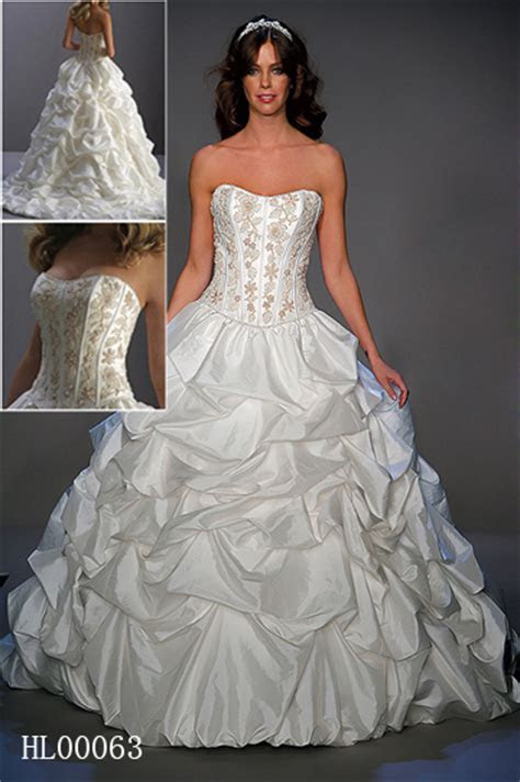 Bridal gown with pickups.