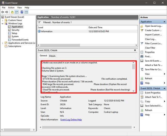 El Visor de eventos muestra los resultados de chkdsk en Windows 10