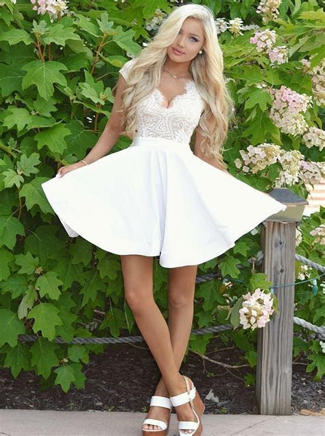 A Line V Neck Cap Sleeves Open Back White Short Homecoming