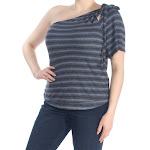 Lucky Brand Womens Navy Striped One Shoulder Top