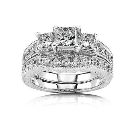 1 Carat Princess cut Diamond Antique Three Stone Bridal