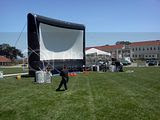 Presidio Movie Screen, 05.26.2012 Inflatable movie screen being set up in windy conditions in the Presidio.