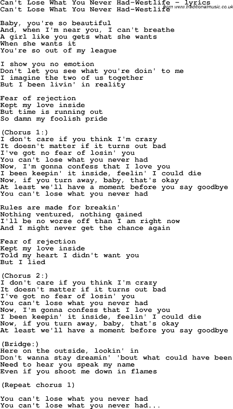 Can T Lose What You Never Had Westlife Lyrics