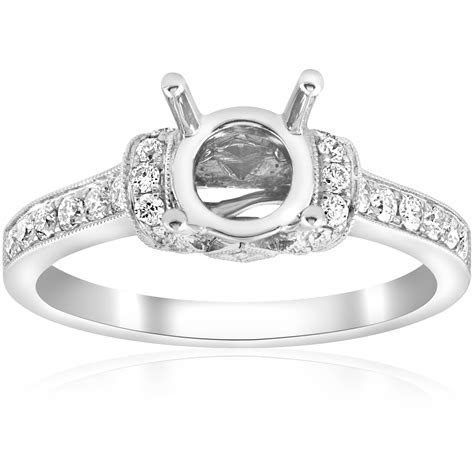 1/3ct Pave Diamond Ring Setting Solid 18K White Gold