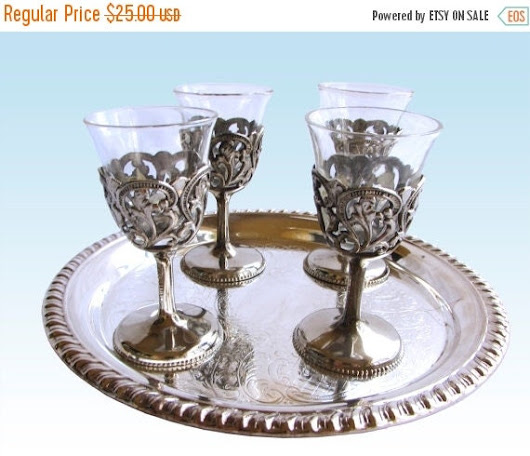 On Sale Vintage Ornate Filigree Silver Cordial by WhatnotGems