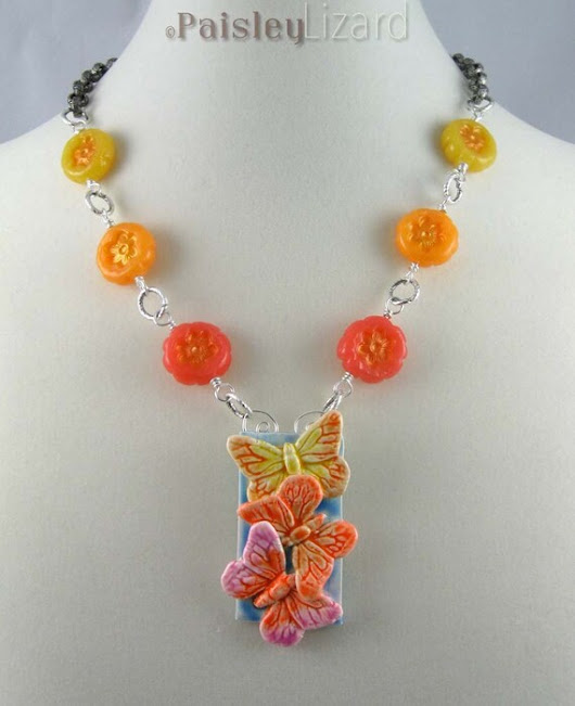 Citrus Butterfly Trio Necklace polymer by PaisleyLizardDesigns