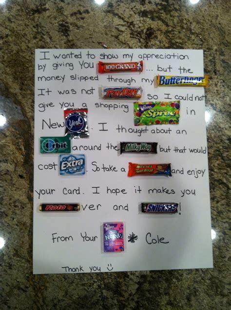 Teacher appreciation week at school. Candy bar thank you
