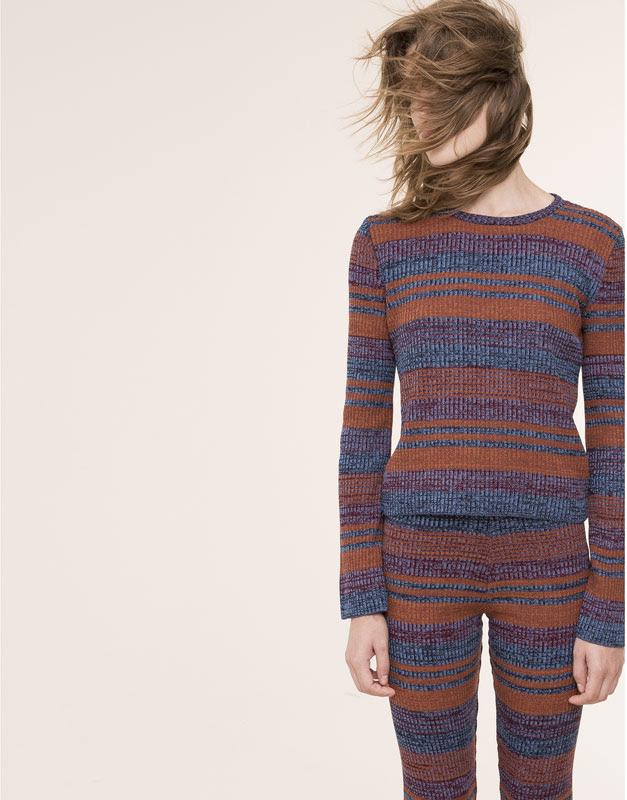 Pull&Bear - mujer - total look - jersey manga campana rayas - terracota - 09559352-I2015