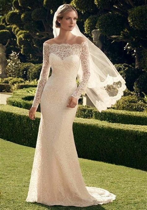long sleeve lace   shoulder wedding dresses
