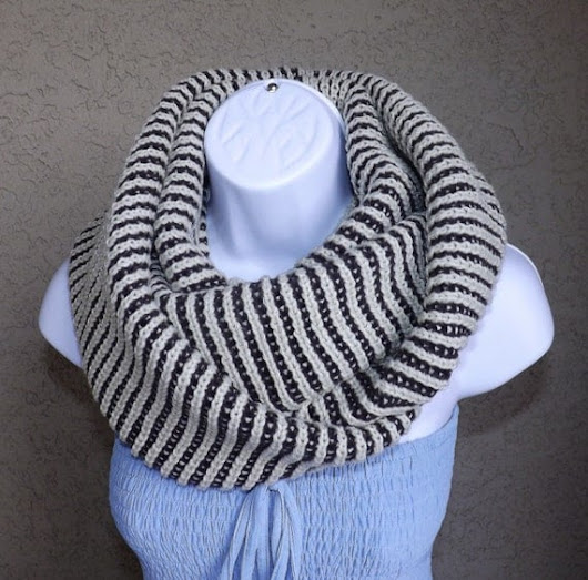 Stylish cozy hand knitted cashmere beige and brown infinity scarf, fall winter unisex two toned scarf, unisex beige infinity scarf 2013