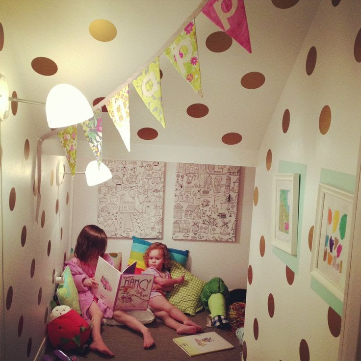 Vinyl Wall Sticker Decal Art - Polka Dots via Etsy. Metallic Polka Dots. Love this for the storage closet!!