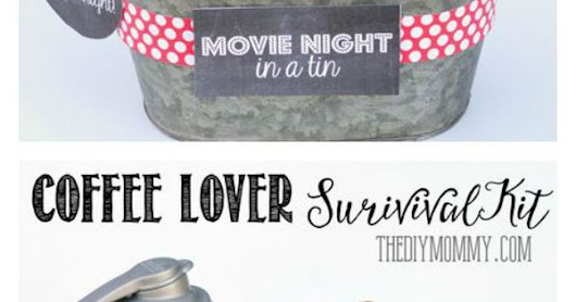 Gifts In A Tin ~ Some wonderful ideas! All 6 gift basket ideas come with free tags and labels, and a list of suggested items... Snow Day Survival K… | Pinteres…