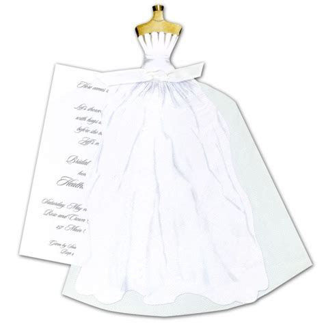 Wedding Dress with White Ribbon and Tulle Invitations