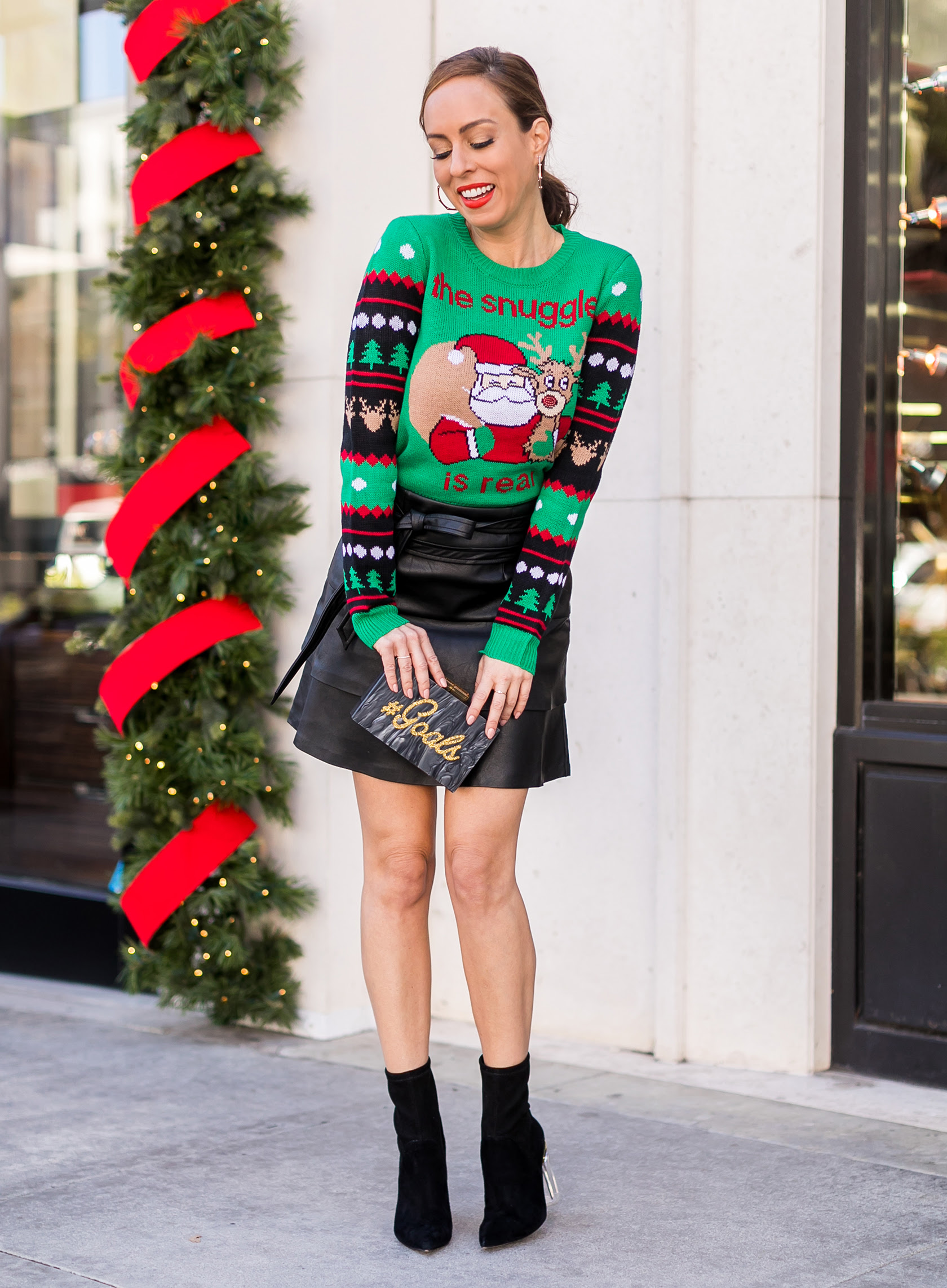 how to make an ugly christmas sweater party outfit look